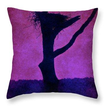 Osprey Nest Silhouette - Manasquan Reservoir Throw Pillow by Angie Tirado