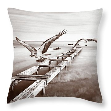 Osprey On The Move Bw Throw Pillow