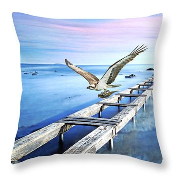 Osprey On The Move Throw Pillow