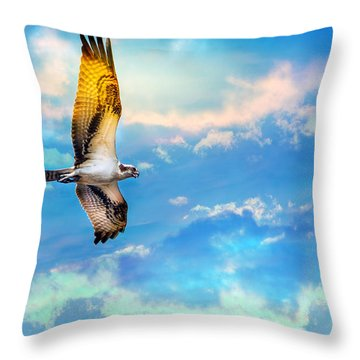 Osprey Soaring High Against A Beautiful Sky Throw Pillow