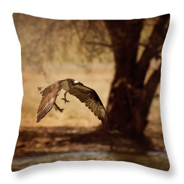 Osprey With Lunch Throw Pillow