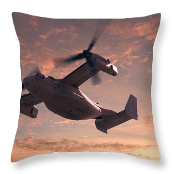 Ospreys In Flight Throw Pillow by Mike McGlothlen