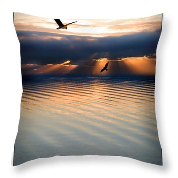 Ospreys Throw Pillow by Mal Bray