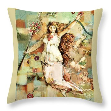 Throw Pillow featuring the mixed media Ostara by Carrie Joy Byrnes