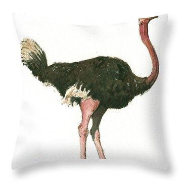 Ostrich Bird Throw Pillow by Juan Bosco