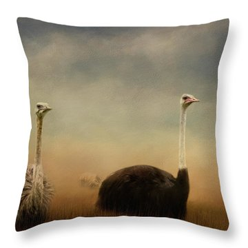 Ostrich Couple Throw Pillow by Jai Johnson