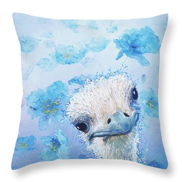 Ostrich In A Field Of Poppies Throw Pillow by Jan Matson