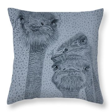 Ostrich Umbrella Throw Pillow by David Joyner