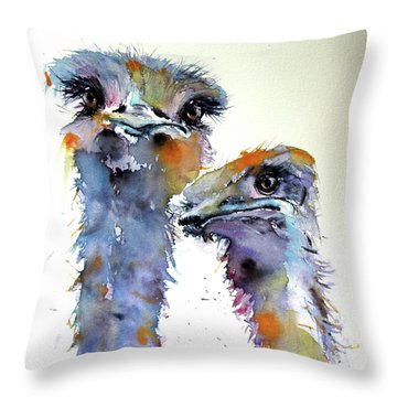 Throw Pillow featuring the painting Ostriches by Kovacs Anna Brigitta