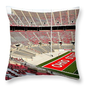 Osu Football Stadium Throw Pillow by Laurel Talabere