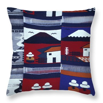 Throw Pillow featuring the photograph Otavalo Wall Hangings Ecuador by John  Mitchell