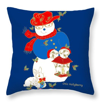Throw Pillow featuring the mixed media Otis Hollyberry And Friends by Belinda Landtroop