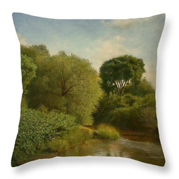 Throw Pillow featuring the painting Otselic River by Wayne Daniels