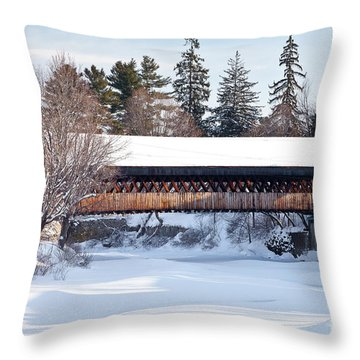 Throw Pillow featuring the photograph Ottaquechee Middle Bridge by Susan Cole Kelly