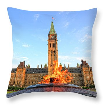 Ottawa Parliament Hill With Centennial Flame Throw Pillow by Charline Xia