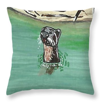 Otter In Amazon River Throw Pillow
