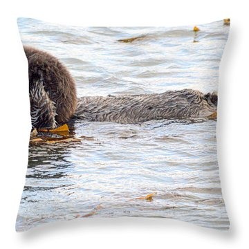 Otter Love Throw Pillow by AJ Schibig