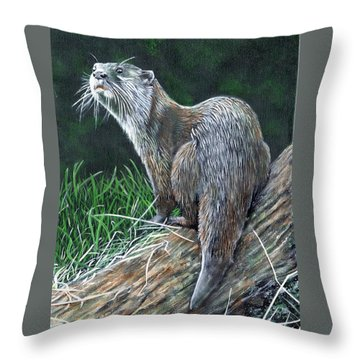 Otter On Branch Throw Pillow