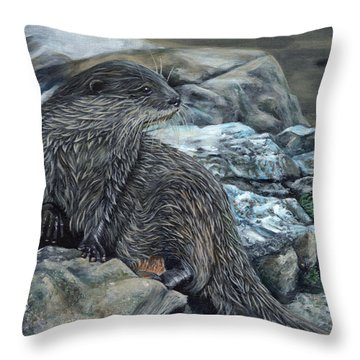 Otter On Rocks Throw Pillow