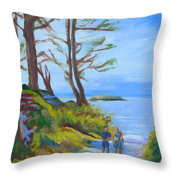 Otter Rock Marine Garden Path Throw Pillow by Pam Van Londen
