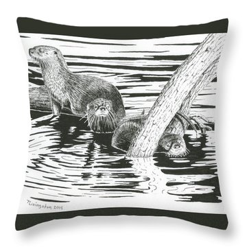 Otters Three Throw Pillow