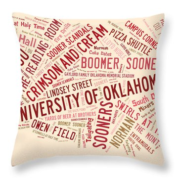 Ou Word Art University Of Oklahoma Throw Pillow by Roberta Peake