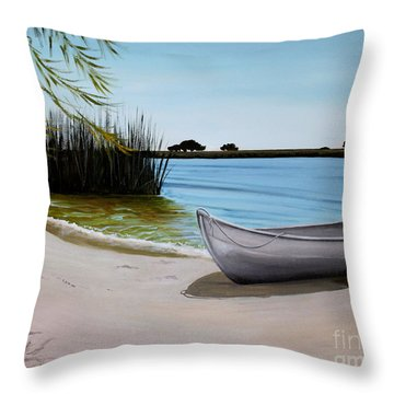 Throw Pillow featuring the painting Our Beach by Elizabeth Robinette Tyndall