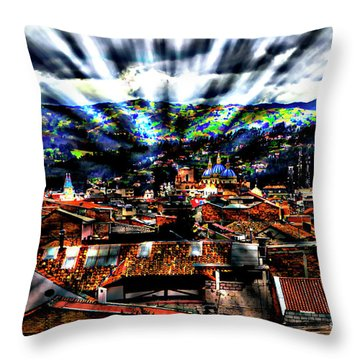 Our City In The Andes Throw Pillow by Al Bourassa
