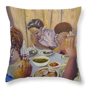 Throw Pillow featuring the painting Our Daily Bread by Saundra Johnson