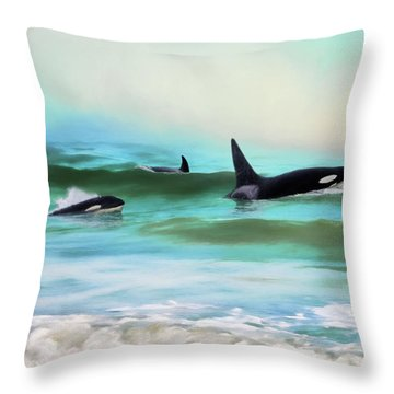 Our Family - Orca Whale Art Throw Pillow