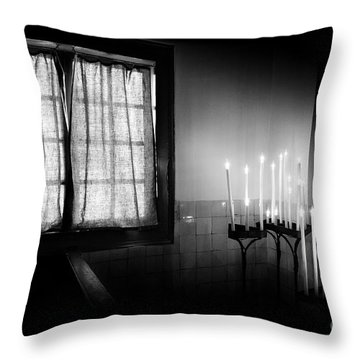 Our Lady Chapel Detail In  The Ons' Lieve Heer Op Solder Amsterdan Bw Throw Pillow by RicardMN Photography