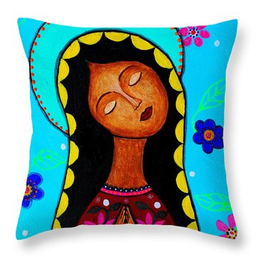 Throw Pillow featuring the painting Our Lady Of Guadalupe II by Pristine Cartera Turkus