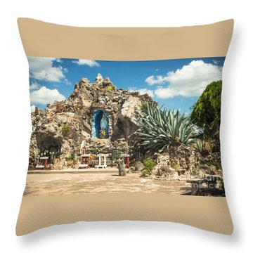 Our Lady Of Lourdes Grotto Throw Pillow