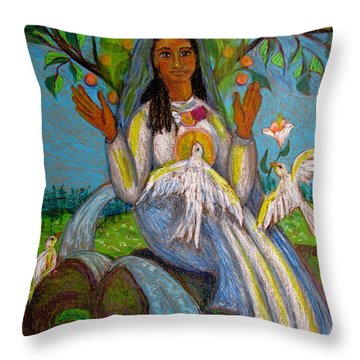 Our Lady Of The Forest Throw Pillow