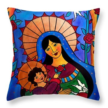 Our Lady Of The Garden Throw Pillow