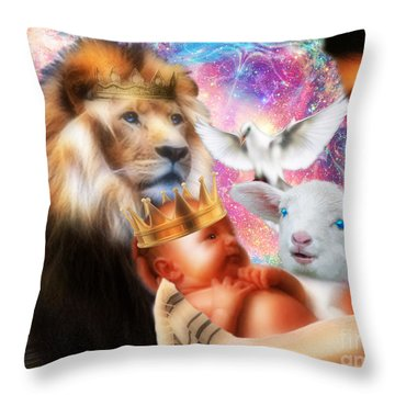 Throw Pillow featuring the digital art Our Saviors Birth by Dolores Develde
