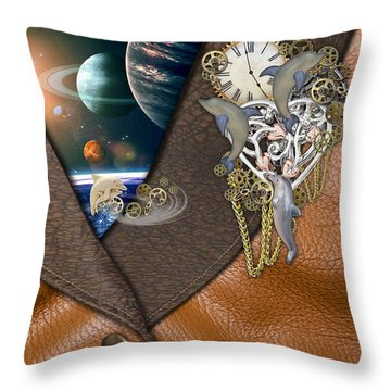 Our World On Time Throw Pillow by Nadine May