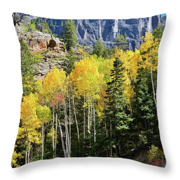 Throw Pillow featuring the photograph Ouray Aspens by Ray Mathis
