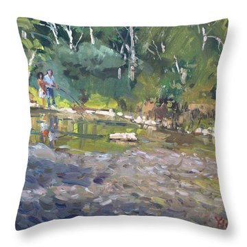 Out Fishing With Viola  Throw Pillow