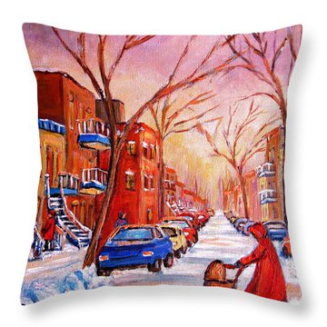 Out For A Walk With Mom Throw Pillow by Carole Spandau