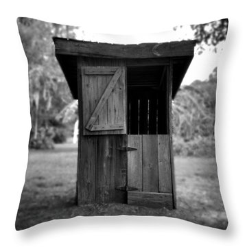 Out House In Black And White Throw Pillow by Rebecca Brittain