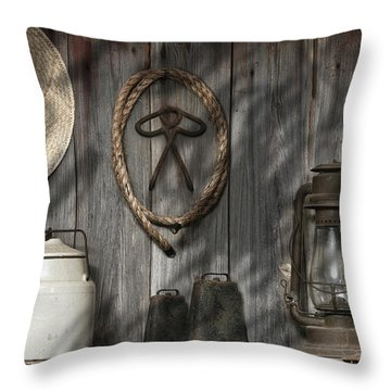 Out In The Barn IIi Throw Pillow by Tom Mc Nemar