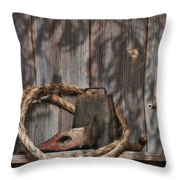 Out In The Barn Iv Throw Pillow by Tom Mc Nemar