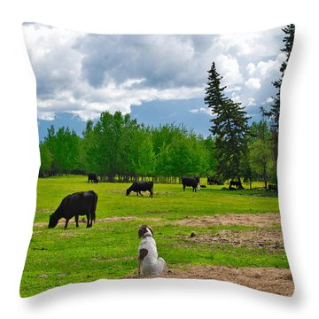 Out In The Pasture Throw Pillow