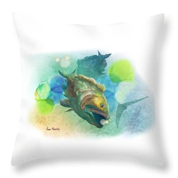 Throw Pillow featuring the painting Out Of School by Anne Beverley-Stamps