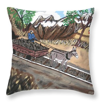 Throw Pillow featuring the painting Out Of The Dark And Into The Blue Coal Mine by Jeffrey Koss