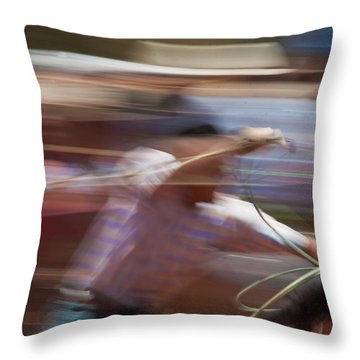 Throw Pillow featuring the photograph Out Of The Gate by Roger Mullenhour