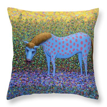 Throw Pillow featuring the painting Out Of The Pasture by James W Johnson