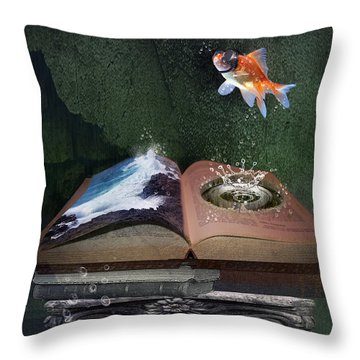 Out Of The Pond Throw Pillow by Mary Hood