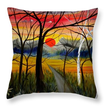Throw Pillow featuring the painting Out Of The Woods by Renate Nadi Wesley